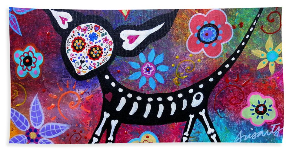 Chihuahua Hand Towel featuring the painting Chihuahua Day Of The Dead by Pristine Cartera Turkus