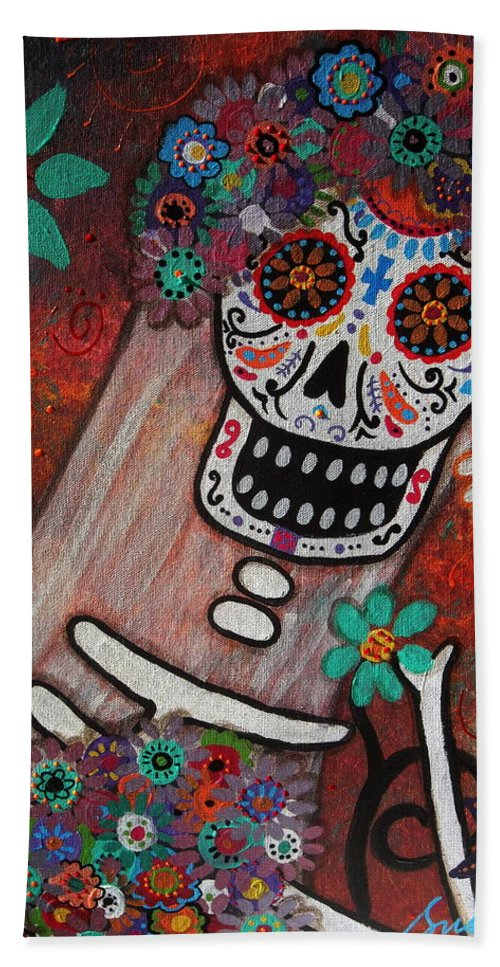 Bride Bath Sheet featuring the painting day of the dead BRIDE by Pristine Cartera Turkus