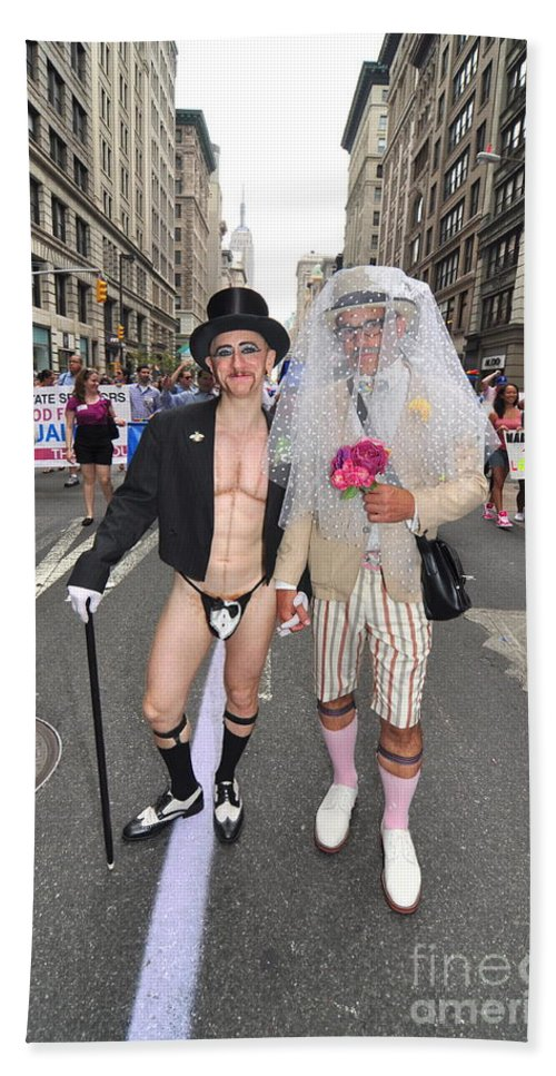 Costumes Bath Sheet featuring the photograph Gay Pride Couples Nyc 2011 by Mark Gilman
