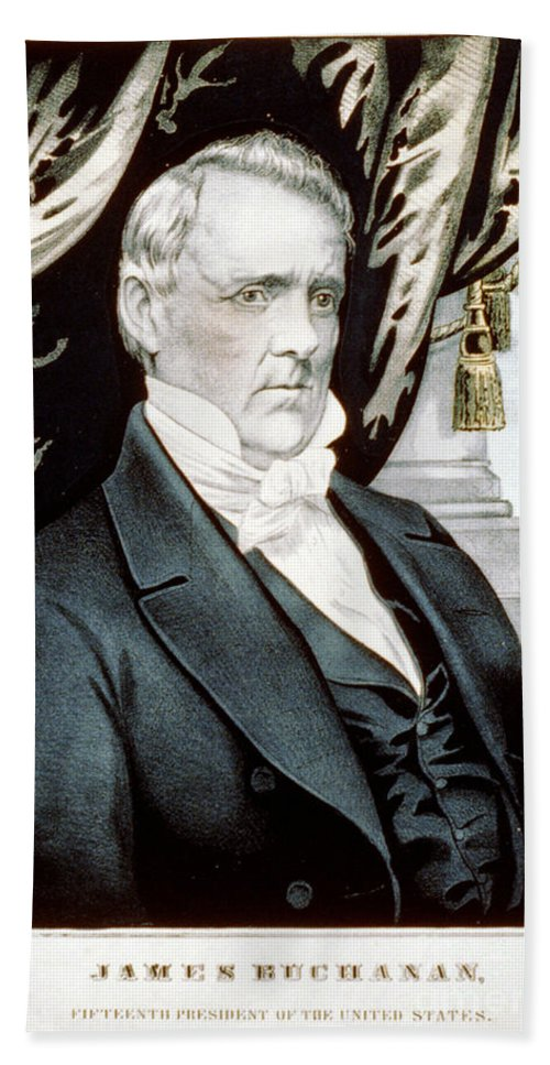 Government Hand Towel featuring the photograph James Buchanan, 15th American President by Photo Researchers