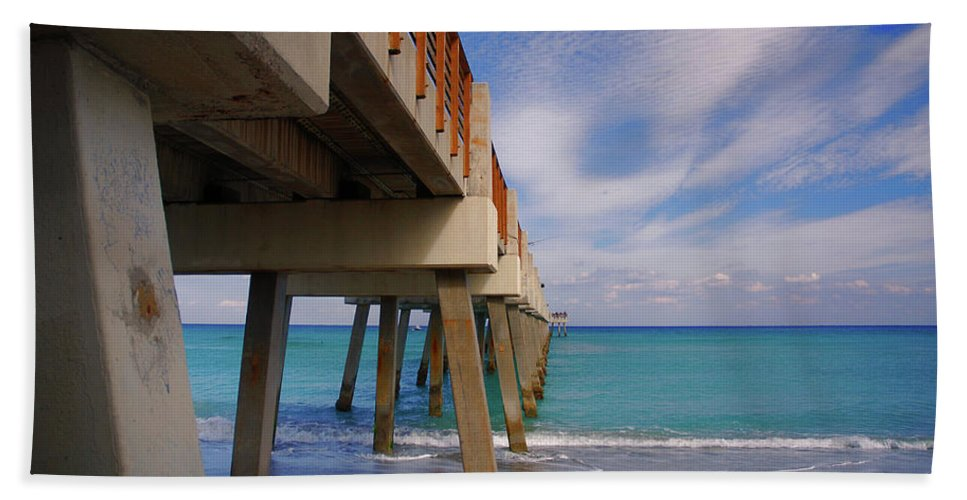 Juno Pier Bath Sheet featuring the photograph 4- Juno Pier by Joseph Keane