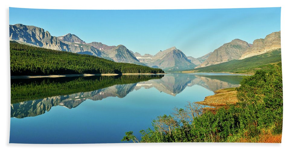 Glacier National Park Hand Towel featuring the photograph Lake Sherburne by Greg Norrell