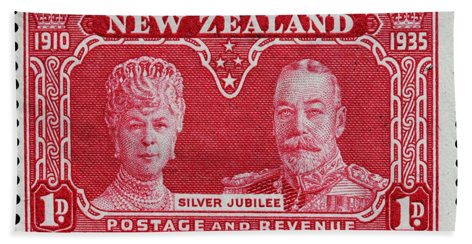 Old New Zealand Postage Stamp Bath Sheet featuring the photograph old New Zealand postage stamp by James Hill
