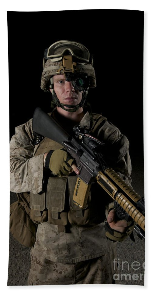 Focus Hand Towel featuring the photograph Portrait Of A U.s. Marine Wearing Night by Terry Moore