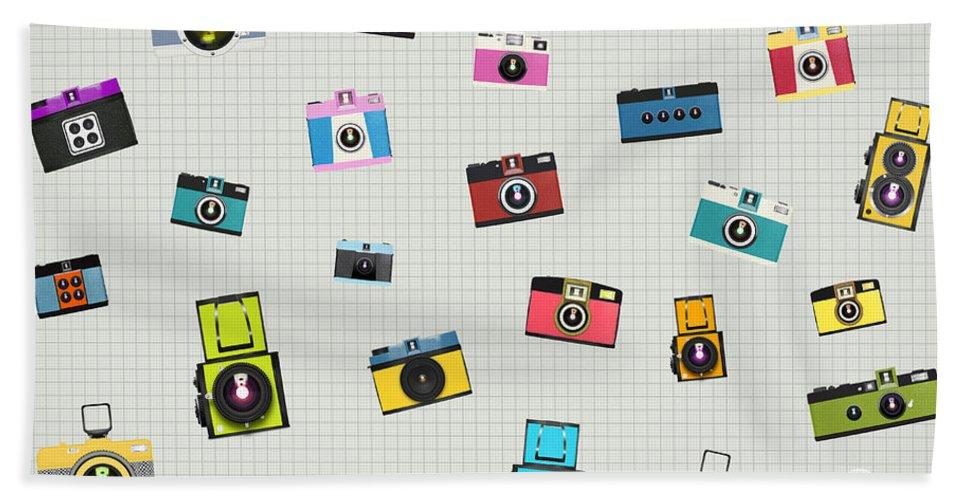 Analog Bath Towel featuring the photograph Retro Camera Pattern by Setsiri Silapasuwanchai