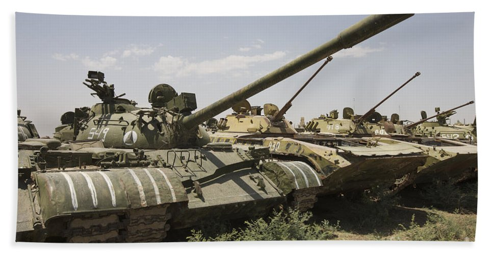 Tracked Vehicles Hand Towel featuring the photograph Russian T-54 And T-55 Main Battle Tanks by Terry Moore