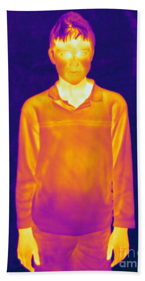 Thermogram Hand Towel featuring the photograph Thermogram Of A Boy by Ted Kinsman