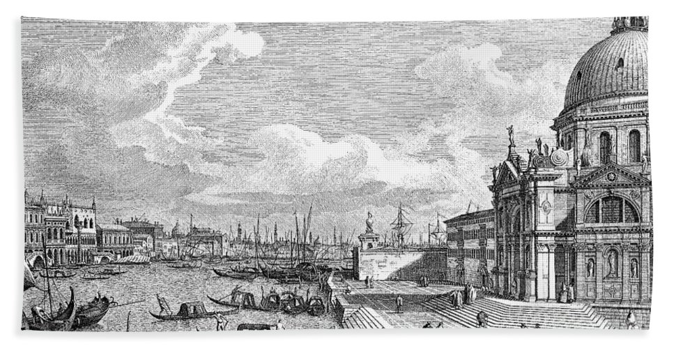 1742 Hand Towel featuring the photograph Venice: Grand Canal, 1742 by Granger