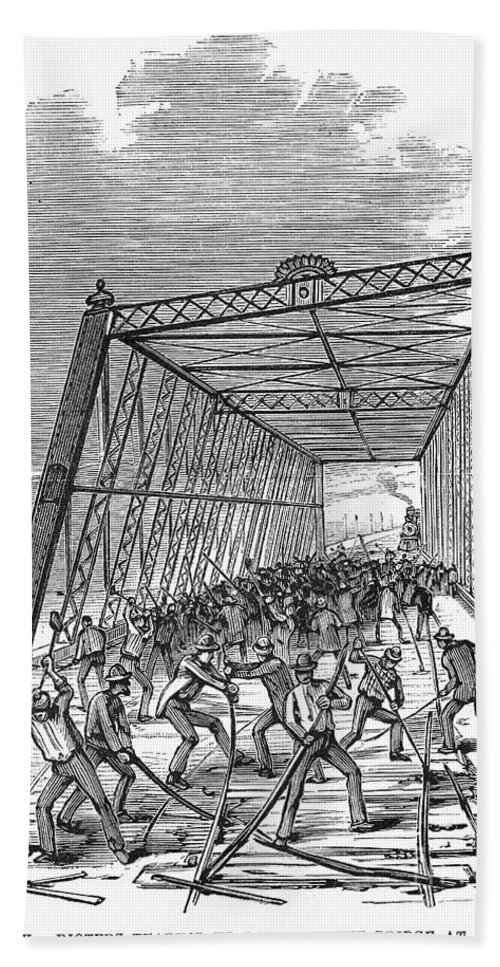 1877 Hand Towel featuring the photograph Great Railroad Strike, 1877 by Granger