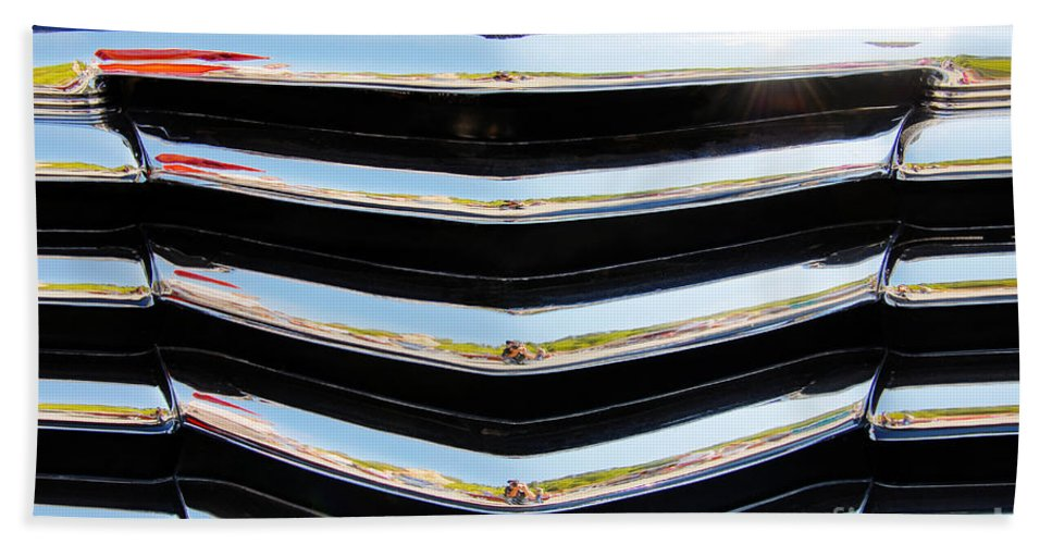 Chevy Bath Sheet featuring the photograph 48 Chevy Convertible Grill by Anthony Wilkening