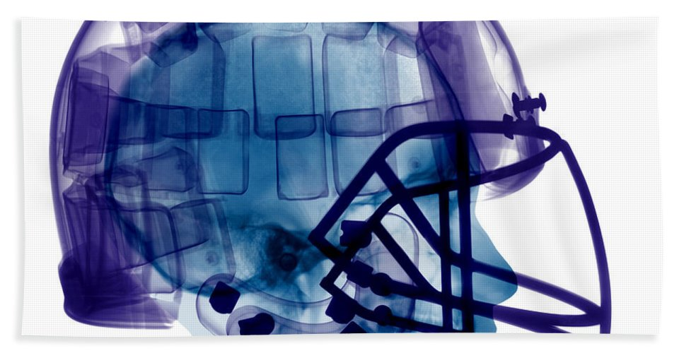 Football Helmet Hand Towel featuring the Football Helmet, X-ray by Ted Kinsman