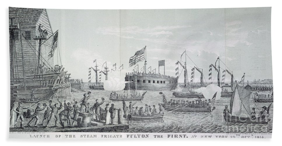 1814 Hand Towel featuring the photograph Fulton Steam Frigate, 1814 by Granger