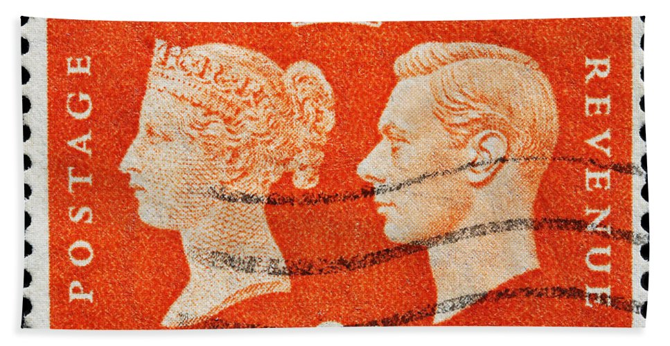 Old British Postage Stamp Bath Sheet featuring the photograph old British postage stamp by James Hill