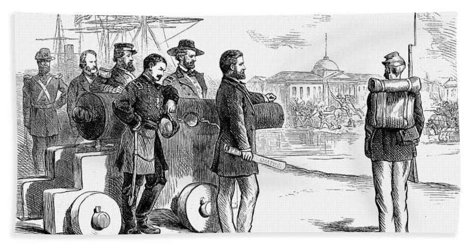 1874 Bath Sheet featuring the photograph Reconstruction Cartoon by Granger