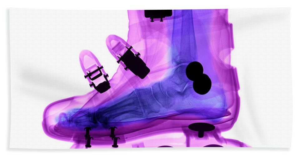 X-ray Hand Towel featuring the photograph Rollerblade Boot by Ted Kinsman