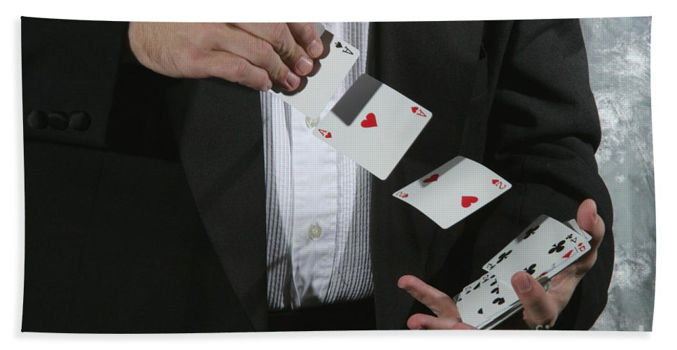 Cards Hand Towel featuring the Shuffling Cards by Ted Kinsman