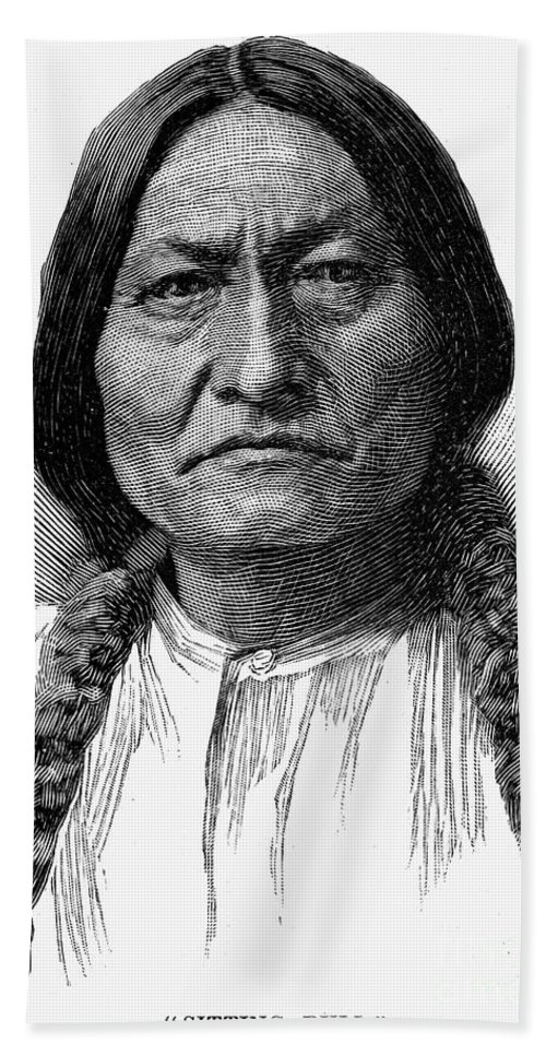 1890 Hand Towel featuring the photograph Sitting Bull (1834-1890) by Granger
