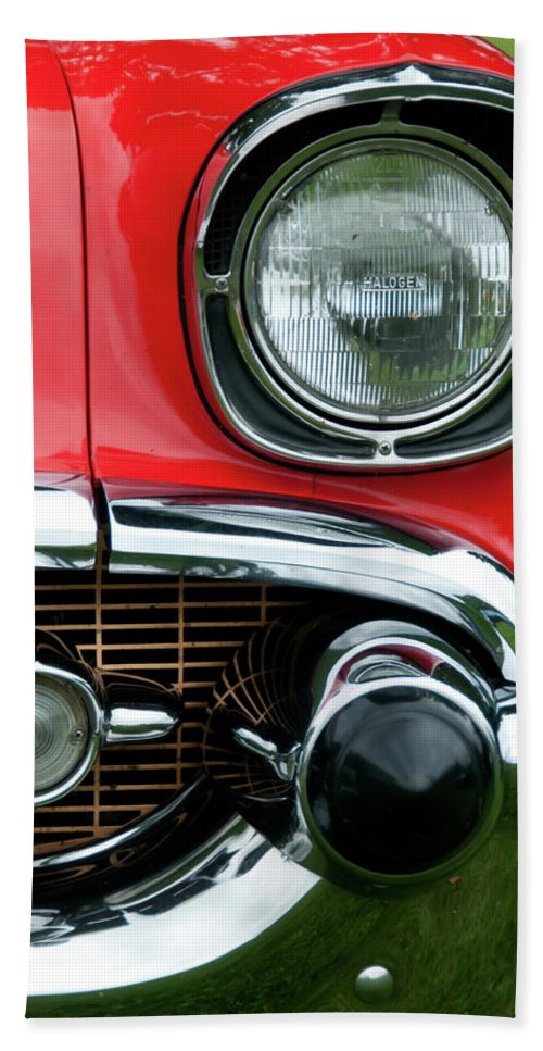 1957 Chevy Hand Towel featuring the photograph 57 Chevy Left Front 8560 by Guy Whiteley