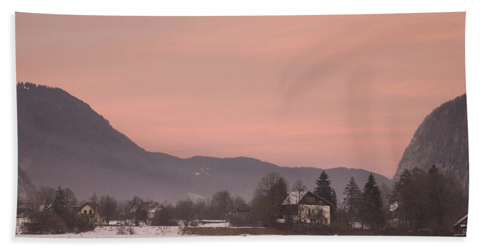 Bohinj Hand Towel featuring the photograph First Sunset Of The Year by Ian Middleton