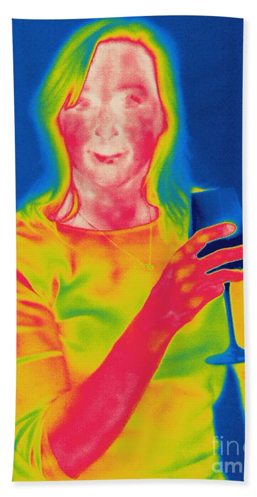 Thermogram Hand Towel featuring the photograph Thermogram Of A Woman by Ted Kinsman
