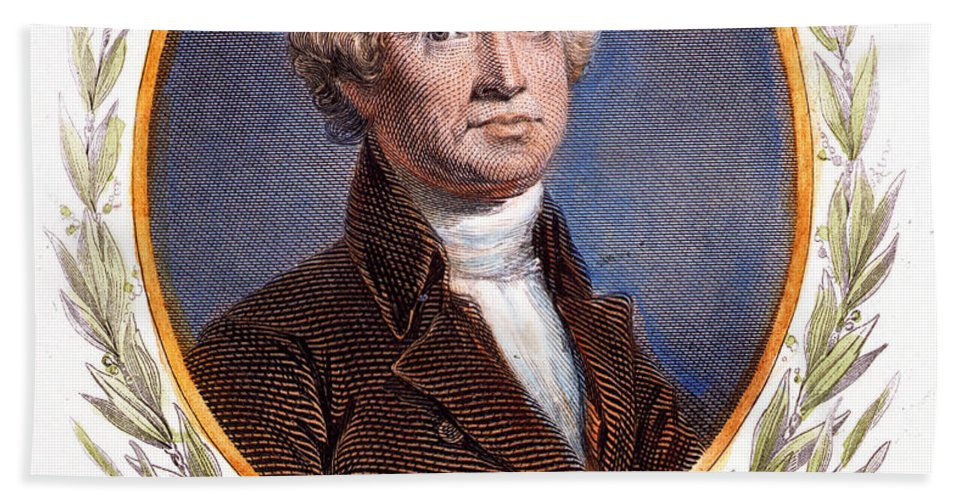 18th Century Bath Sheet featuring the photograph Thomas Jefferson (1743-1826): by Granger