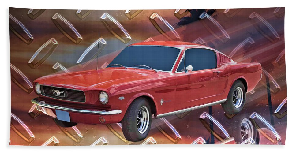 1966 Bath Sheet featuring the digital art 66 Fastback by Tommy Anderson