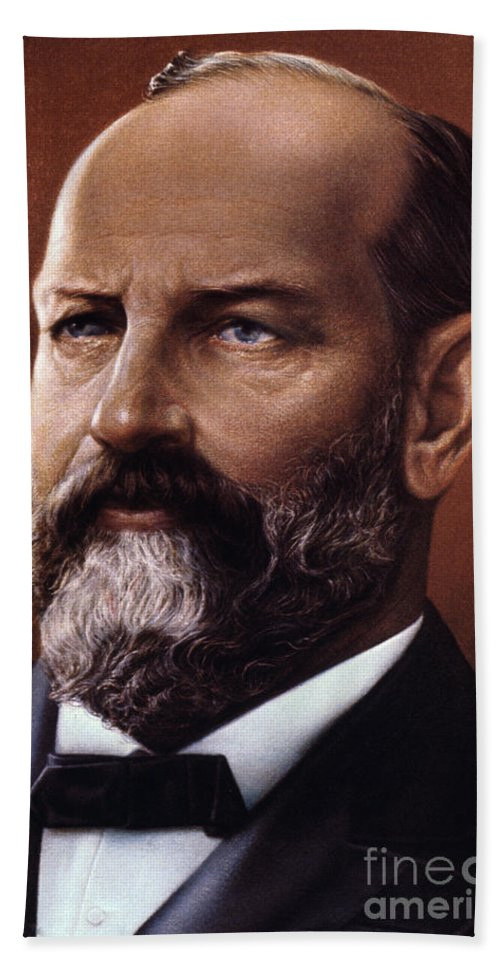 19th Century Hand Towel featuring the photograph James A. Garfield (1831-1881) by Granger