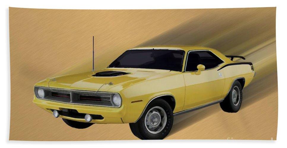 1970 Plymouth Cuda 440 Bath Sheet featuring the digital art 70 Cuda by Tommy Anderson