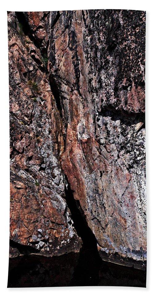 Lehtokukka Bath Sheet featuring the photograph Painted Rocks At Hossa With Stone Age Paintings by Jouko Lehto