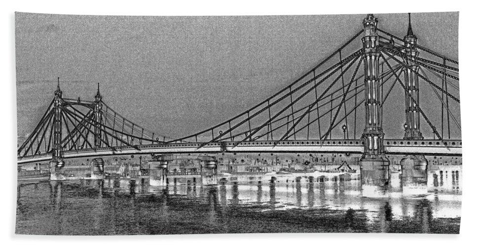 Albert Bridge Bath Sheet featuring the digital art Albert Bridge London by David Pyatt