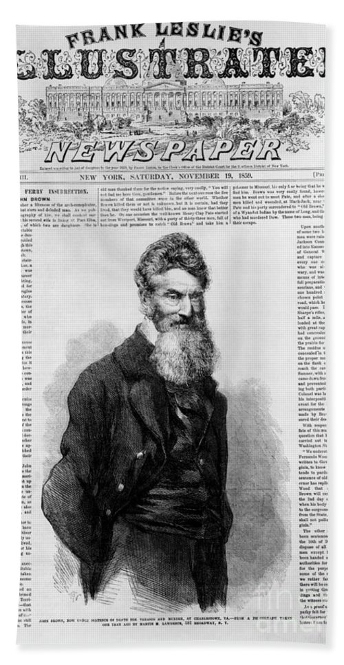 History Hand Towel featuring the photograph John Brown, American Abolitionist by Photo Researchers