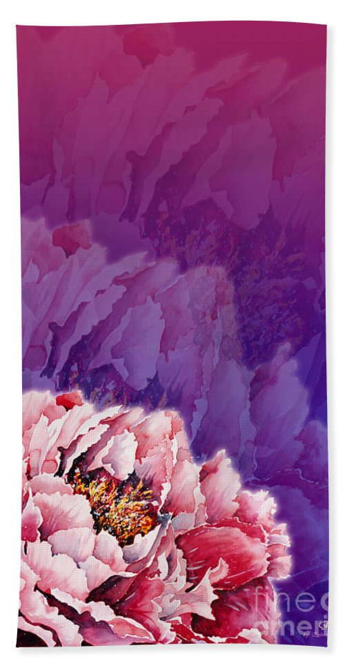 Peony Hand Towel featuring the mixed media Peony by Zaira Dzhaubaeva