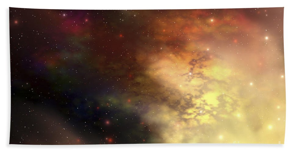 Science Fiction Bath Sheet featuring the digital art A Beautiful Nebula Out In The Cosmos by Corey Ford