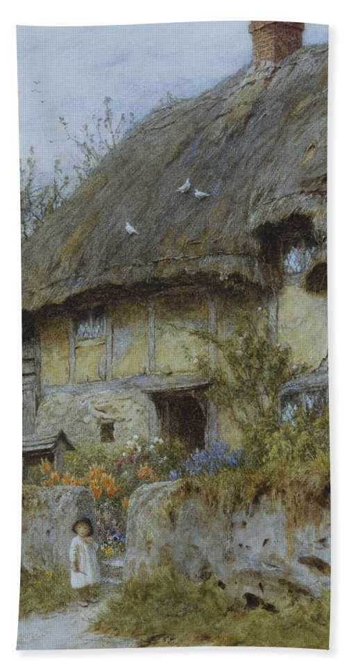 Landscape; English; Thatched; Thatch; Exterior; Rural; Victorian; C19th; C20th Bath Sheet featuring the painting A Berkshire Cottage by Helen Allingham