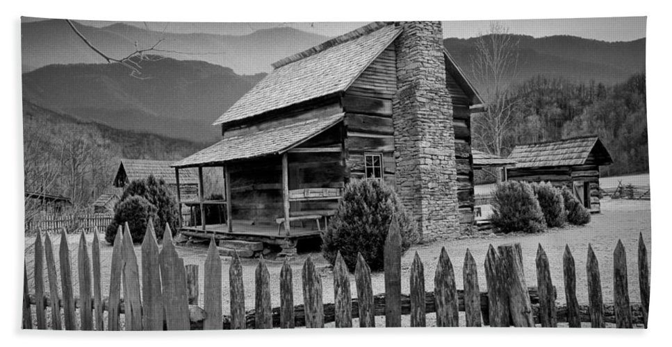 Art Bath Sheet featuring the photograph A Black And White Photograph Of An Appalachian Mountain Cabin by Randall Nyhof