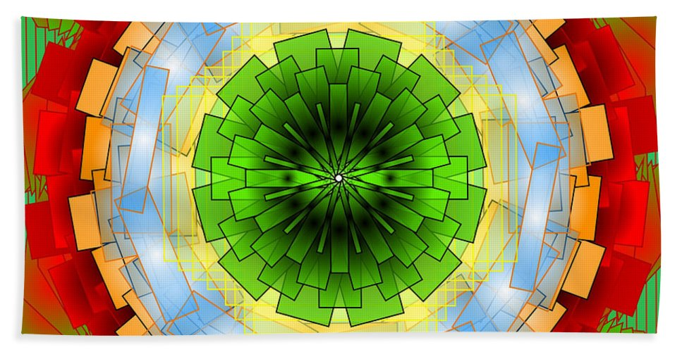 Mandala Bath Sheet featuring the digital art A Blast Of Fireworks by Mario Carini