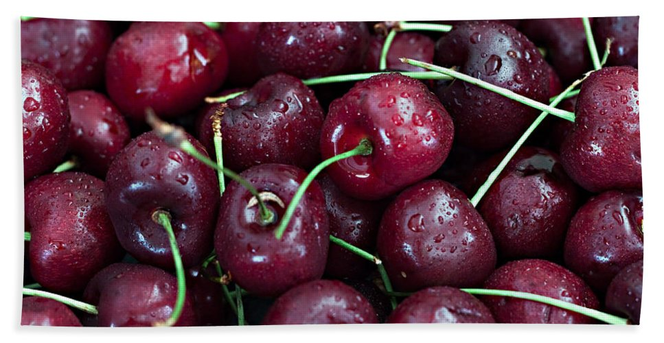 Cherry Bath Sheet featuring the photograph A Cherry Bunch by Sherry Hallemeier