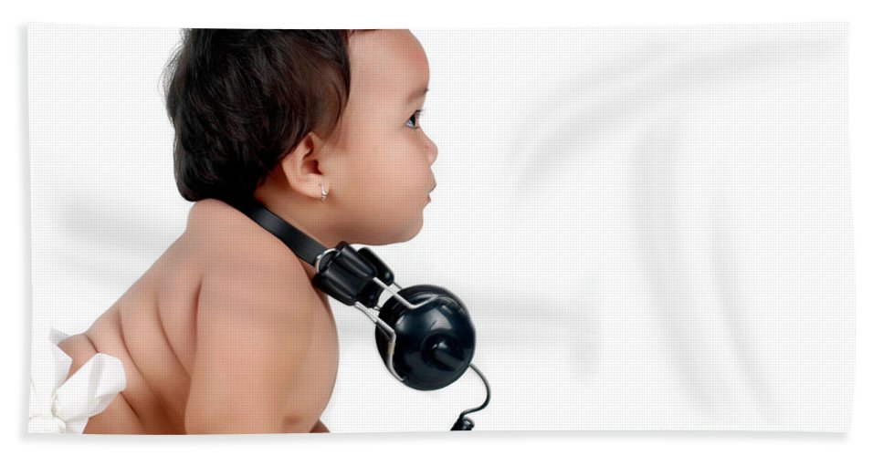 Baby Hand Towel featuring the photograph A Chubby Little Girl With Headphones by Antoni Halim