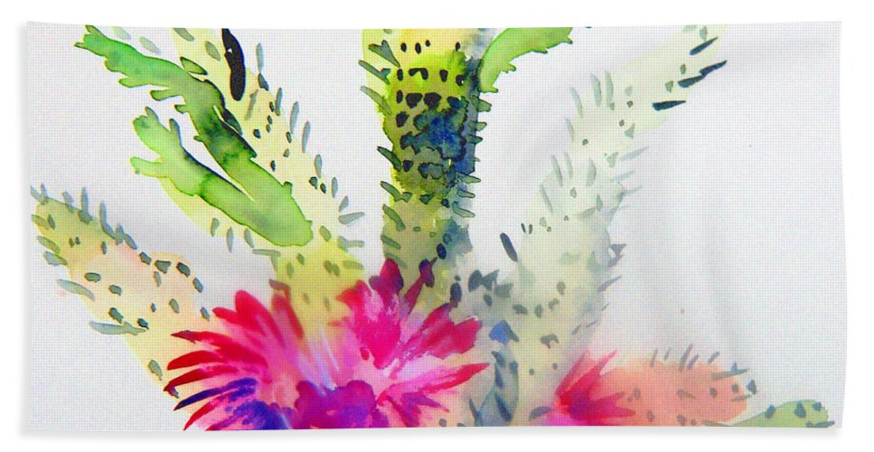 Cactus Bath Sheet featuring the painting A Colorful Cactus by Mindy Newman