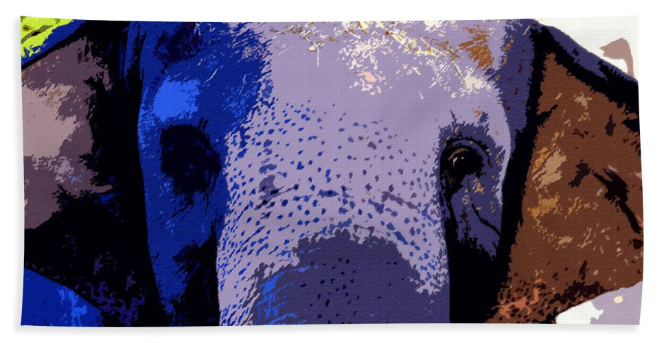 Art Bath Sheet featuring the painting A Colorful Elephant Work Number 1 by David Lee Thompson