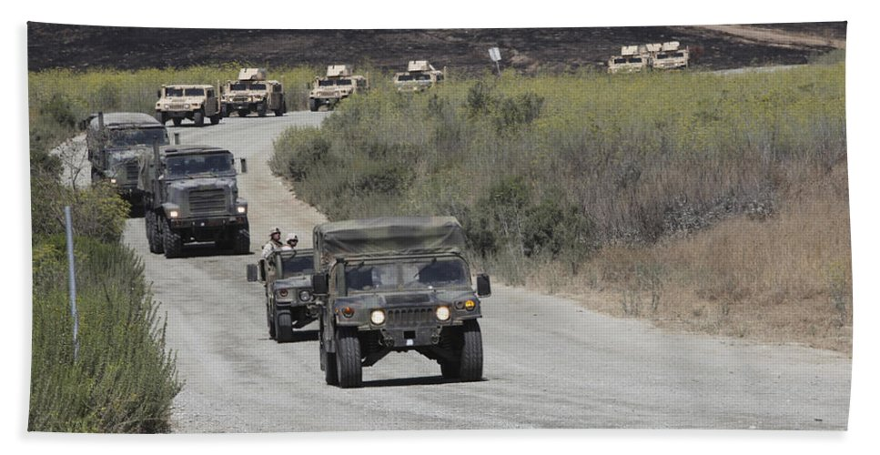 Military Vehicles For Sale >> A Convoy Of Military Vehicles Hand Towel For Sale By Stocktrek Images