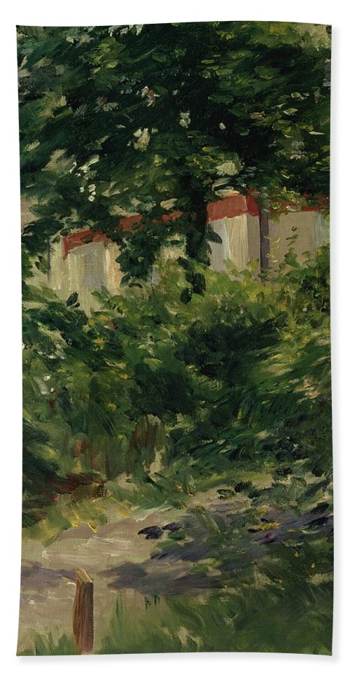 Impressionist; Landscape; Path; House; Shutters; Jardin Bath Sheet featuring the painting A Corner Of The Garden In Rueil by Edouard Manet