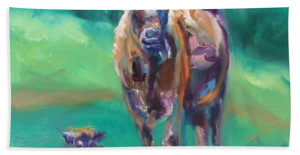 Donna Tuten Bath Sheet featuring the painting A Cow And Her Calf by Donna Tuten