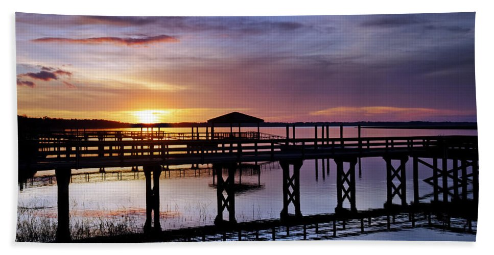 Beaufort County Hand Towel featuring the photograph A December Sky by Phill Doherty