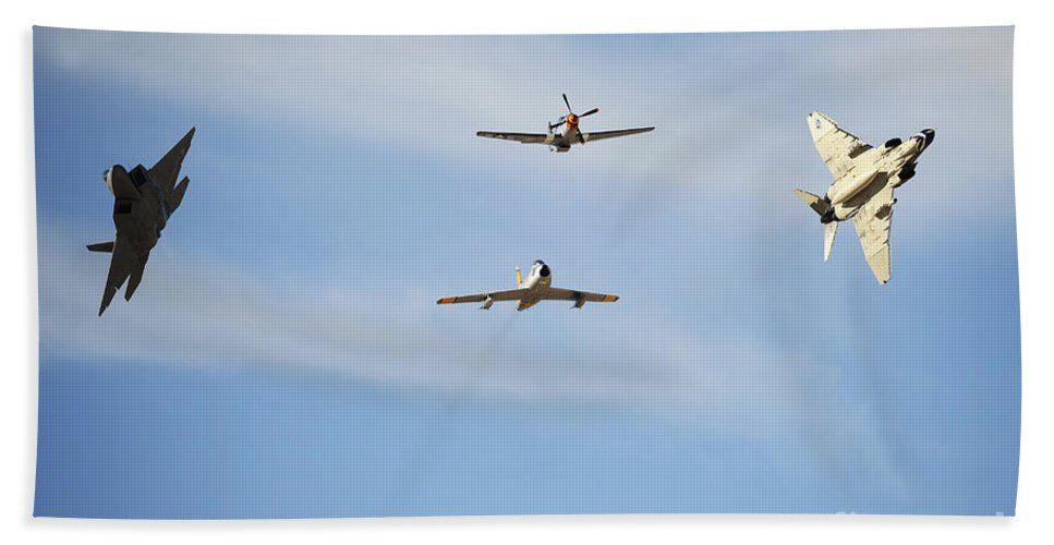 Airshow Bath Sheet featuring the photograph A F-22 Raptor, F-86 Sabre, P-51 Mustang by Stocktrek Images