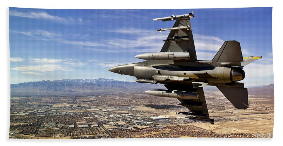 F-16 Hand Towel featuring the photograph A Fighter Jet Breaks Right On A Final by Stocktrek Images