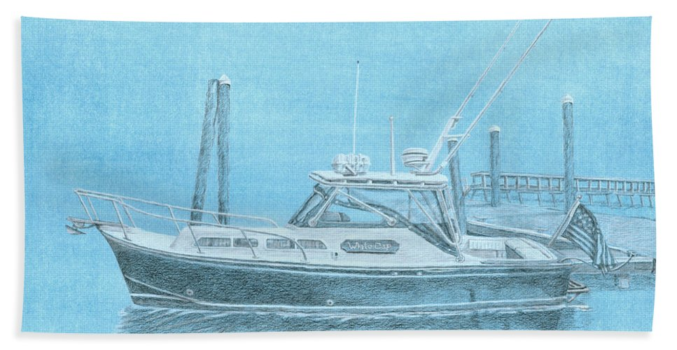 Boat Bath Sheet featuring the painting A Fortier Docked In Maine by Dominic White