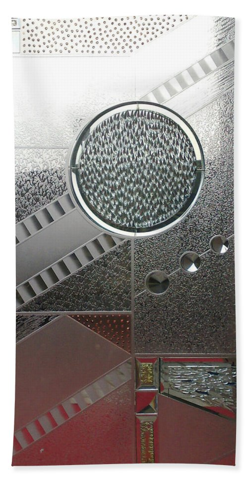 Glass Bath Sheet featuring the photograph A Frosted Glass Window With An Interesting Pattern by Ashish Agarwal