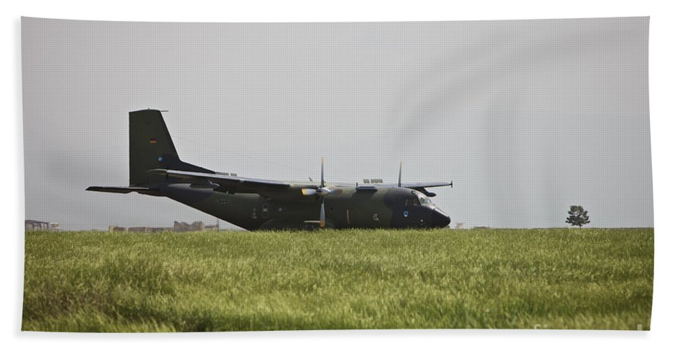 Propeller Hand Towel featuring the photograph A German Air Force Transall C-160 Taxis by Terry Moore
