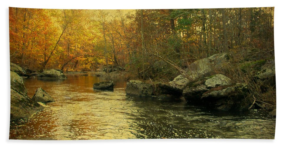 Creek Hand Towel featuring the photograph A Golden Autumn At The Unami by Mother Nature